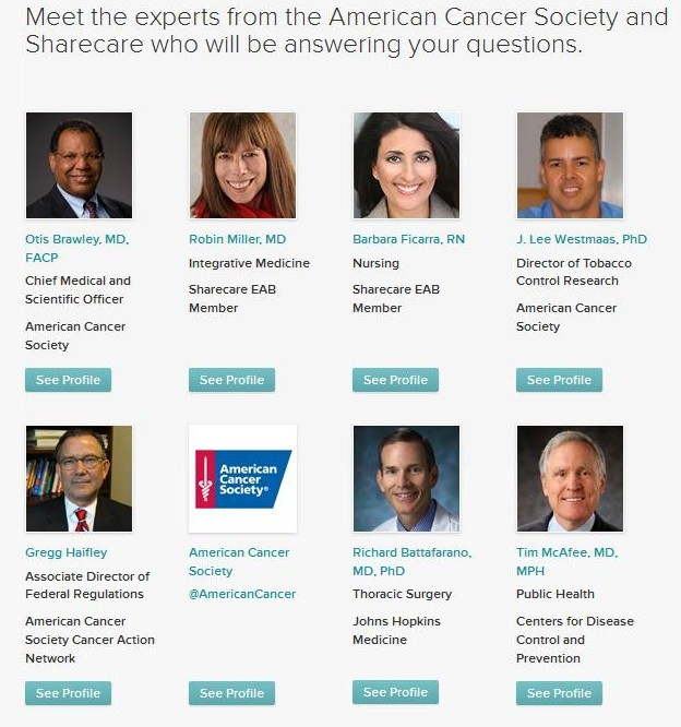 Sharecare Twitter Chat The Great American Smokeout - Experts American Cancer Society, Sharecare, CDC, Johns Hopkins Barbara Ficarra
