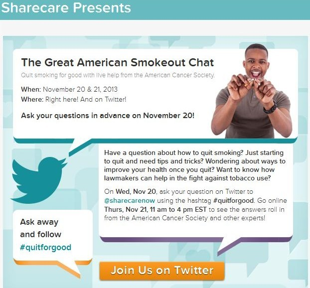 Sharecare Twitter Chat American Cancer Society #quitforgood
