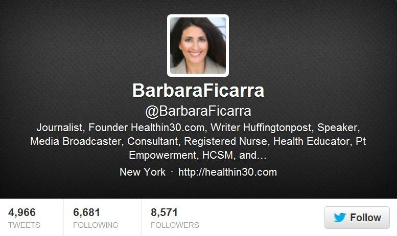 Twitter Barbara Ficarra for Healthin30 Post