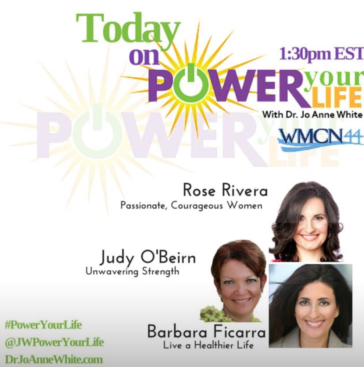 Media Power Your Life WMCN Dr. Jo Anne White Guest Barbara Ficarra